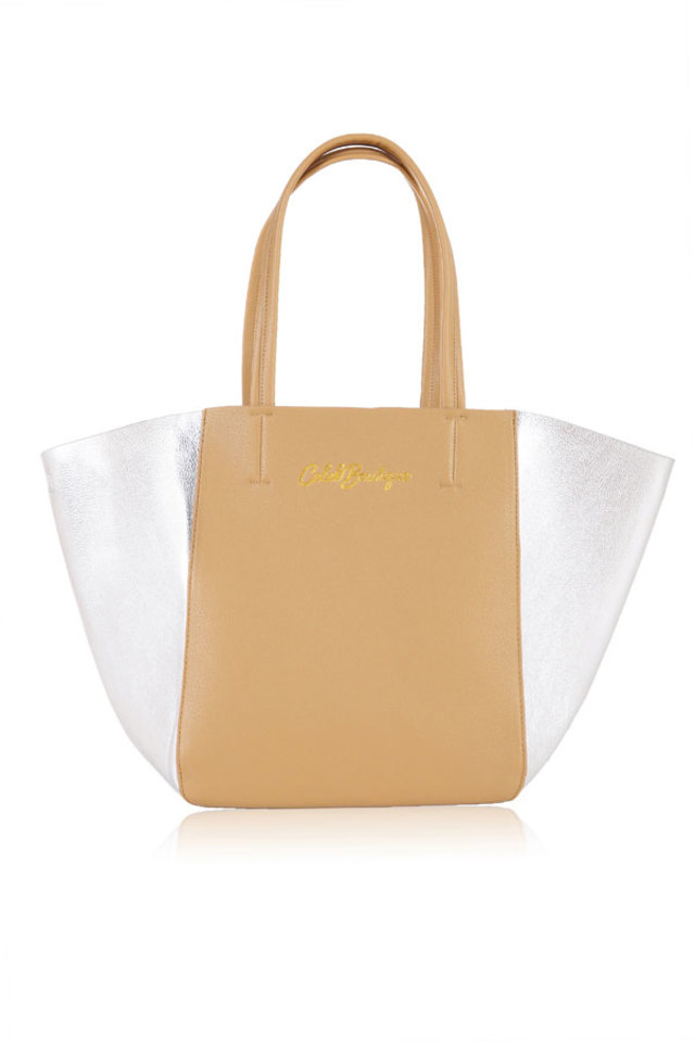 B.Obsessed Caramel Silver Tote Bag