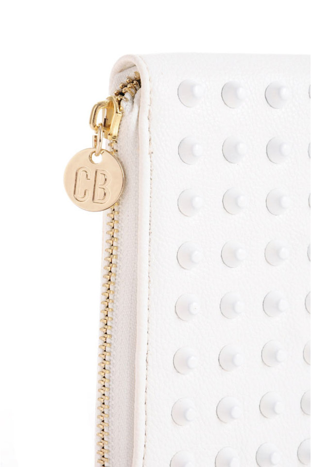 Wildstar White Studded Clutch Purse