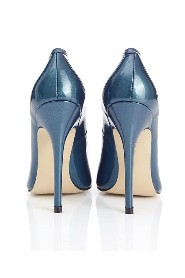 Paris Pearlised Petrol Blue Leather High Heel