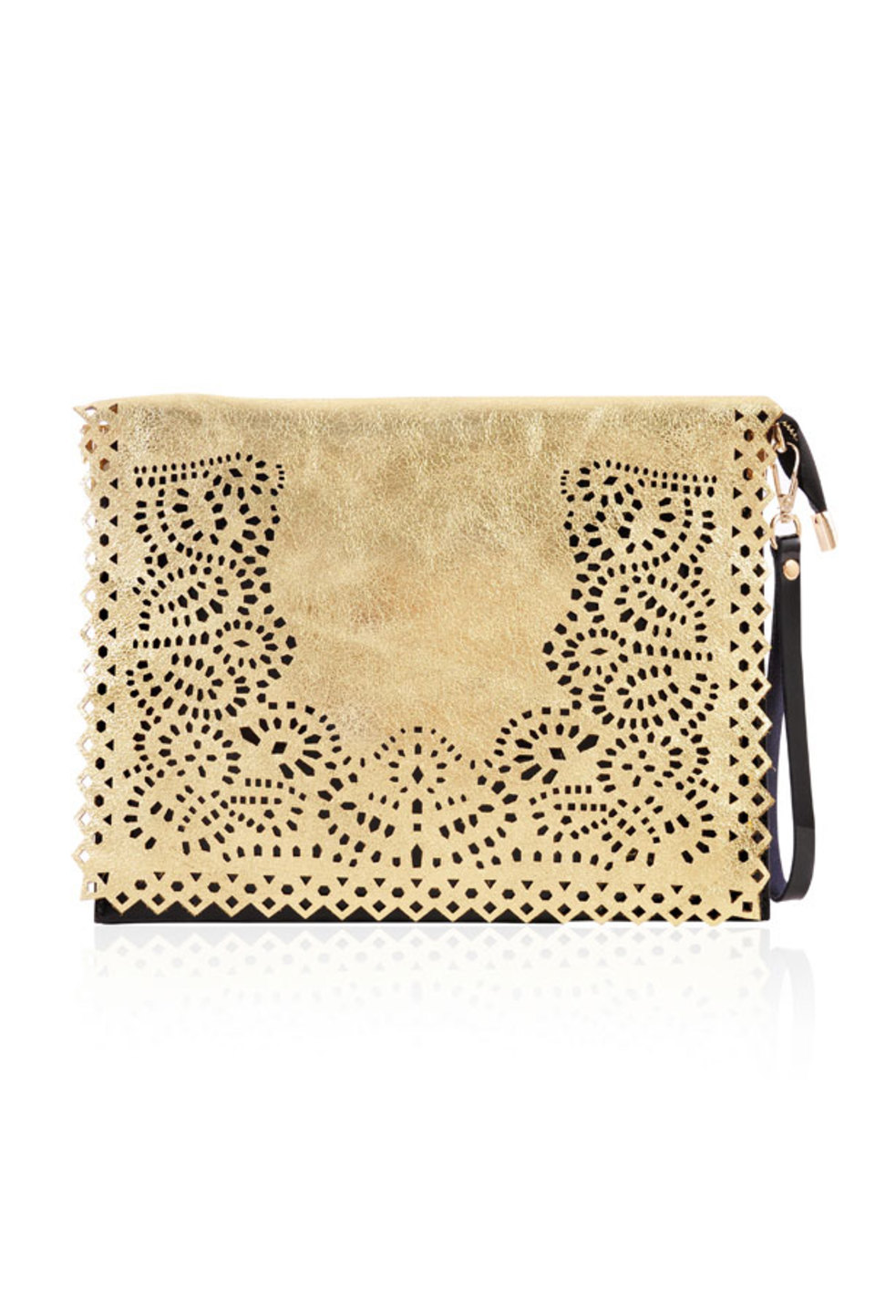 Night Rider Gold and Black Laser Cut Clutch Bag