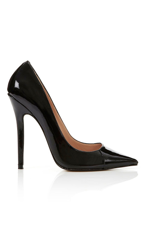 Paris Leather Black Pointed Toe High Heel Pump