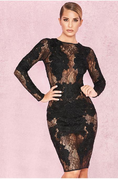 Nolita Black Stretch Lace Long Sleeve Dress