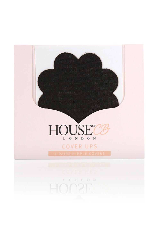 Set of 4 Black Flower Shape Nipple Covers