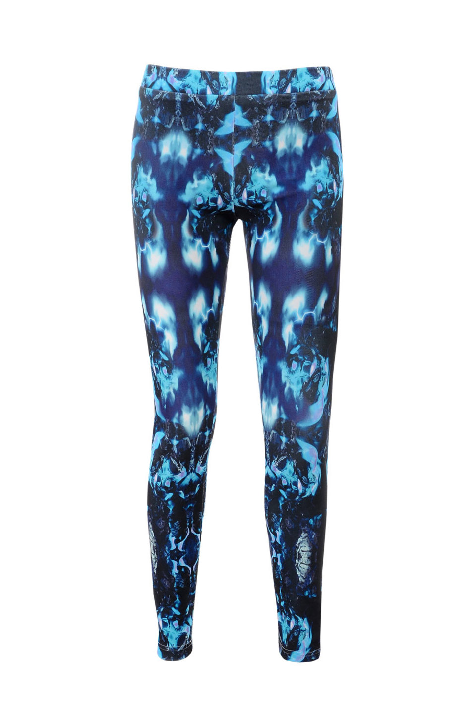 Shay Blue Graphic Print Stretch Twill Leggings