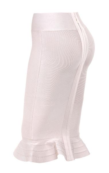 Fluted hem Taupe bandage skirt