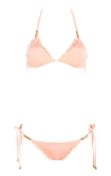 Pearlised peach beaded bikini