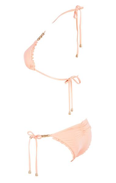 Peach beaded bikini