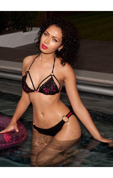 Colombiana Black and Hot Pink Lace Bikini