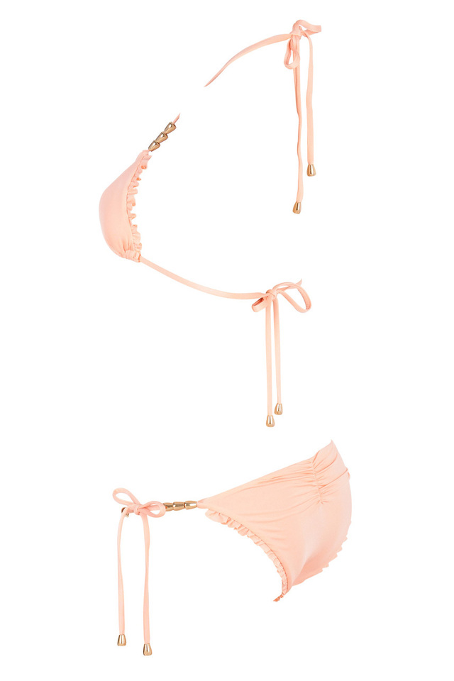 Peach beaded bikini