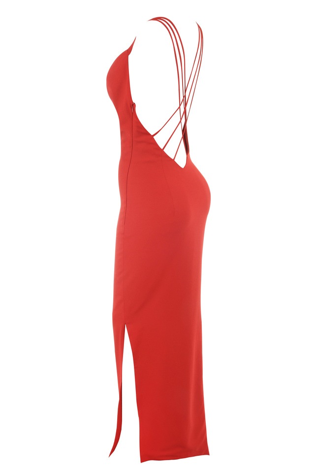 Red low back maxi dress