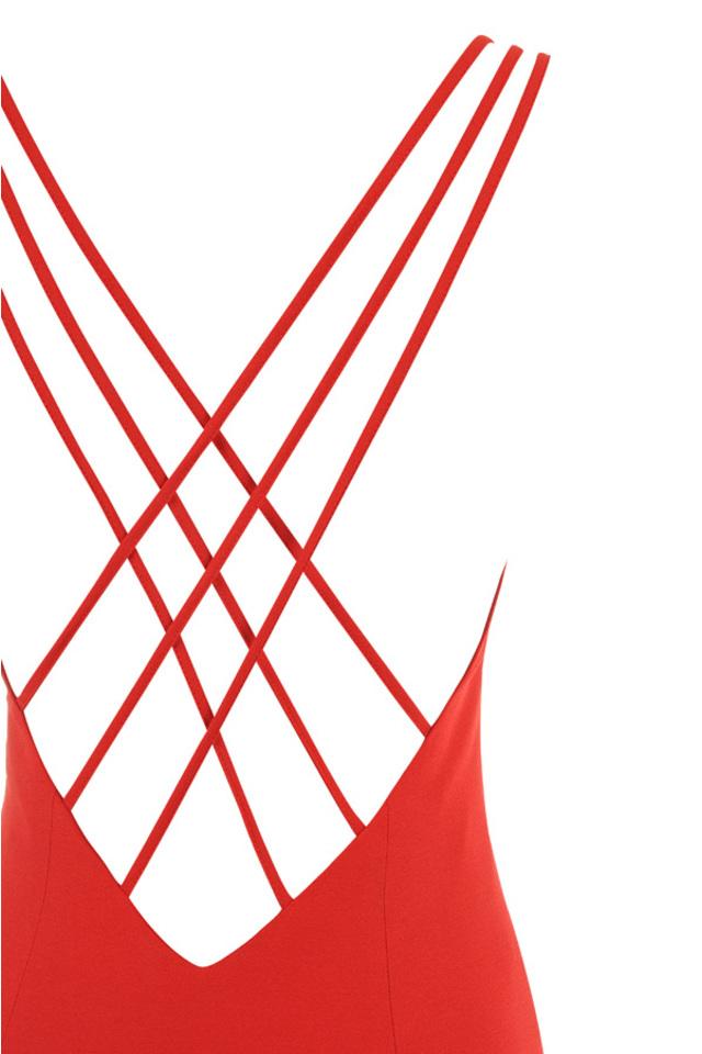 Red stretch crepe maxi dress