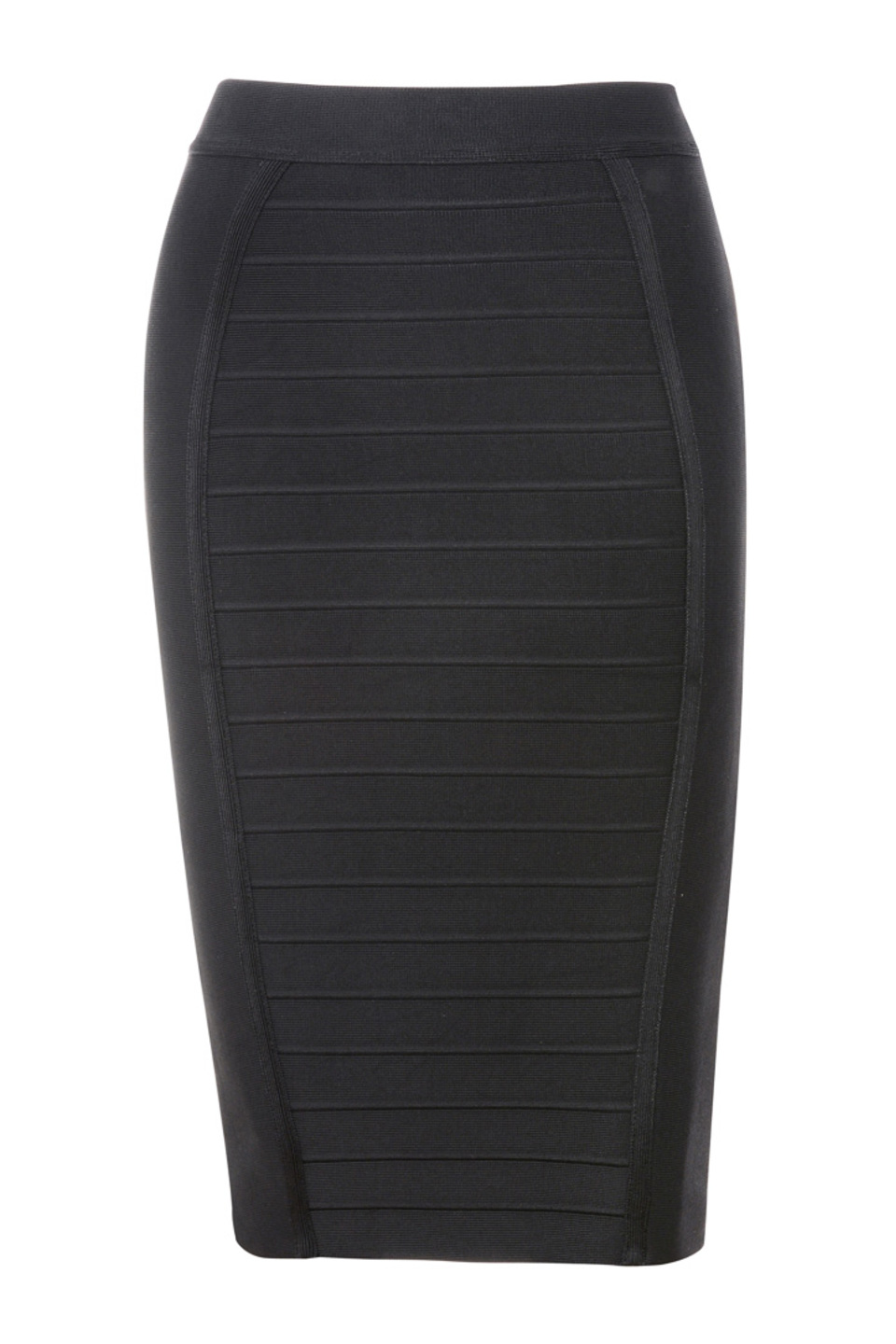 Sorcha Black Knee Length Bandage Pencil Skirt