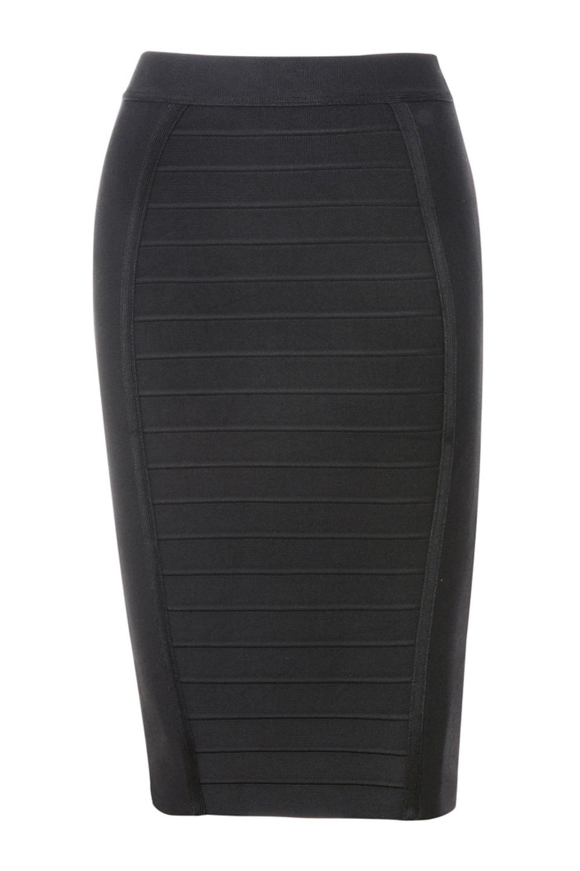 Sorcha Black Knee Length Bandage Pencil Skirt