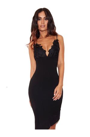 Caprice Black Slip Dress with Lace Applique