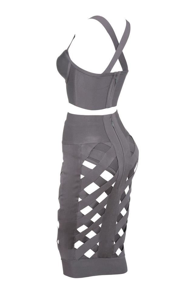 brandi taupe two piece dress
