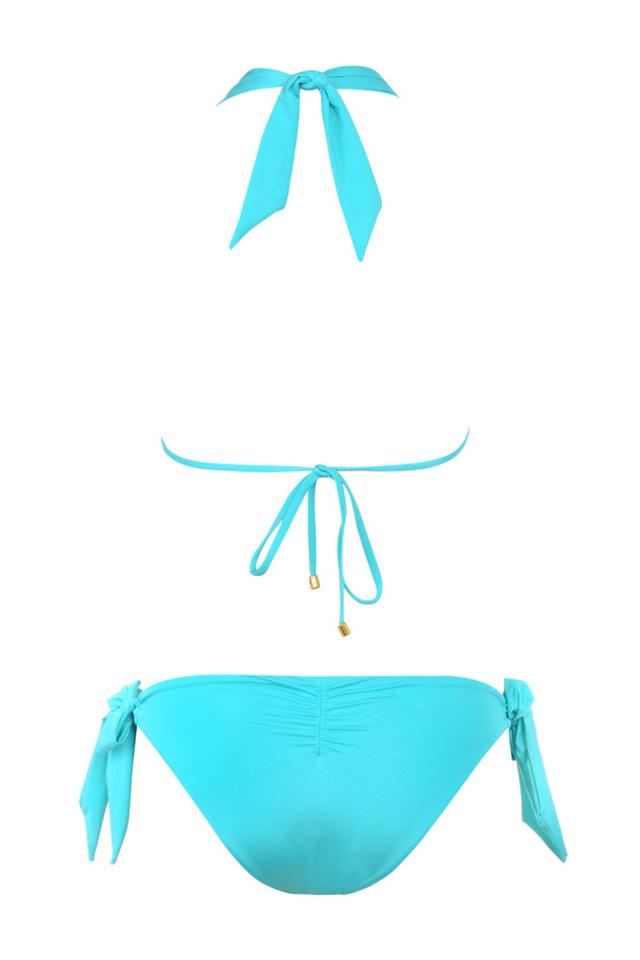 Aqua halter bikini with side tie