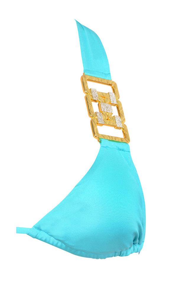 Aqua blue bikini with tie back