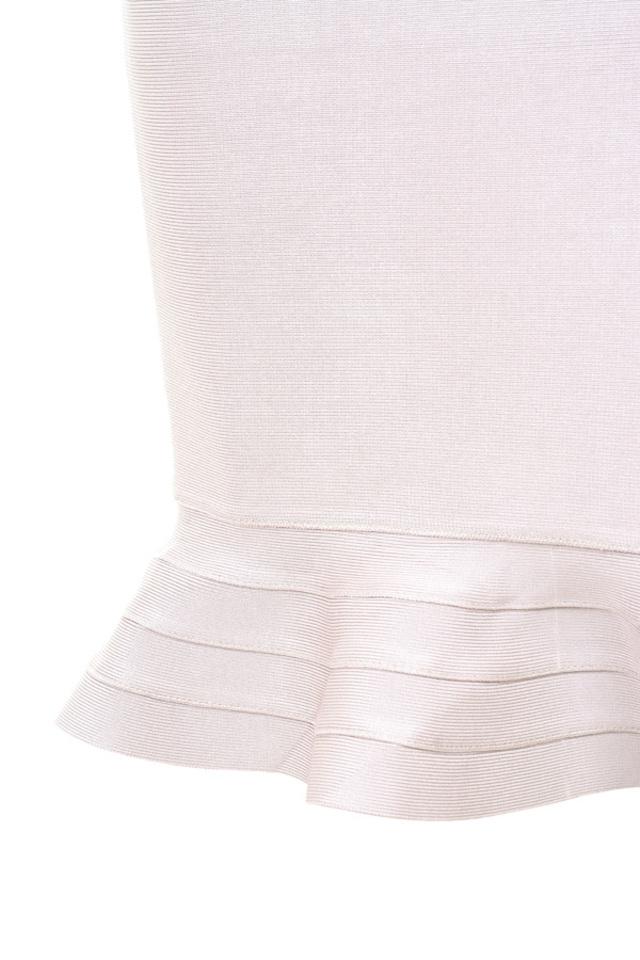 Fluted hem taupe bandage skirt.