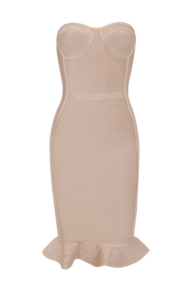 the oman bandage dress in nude