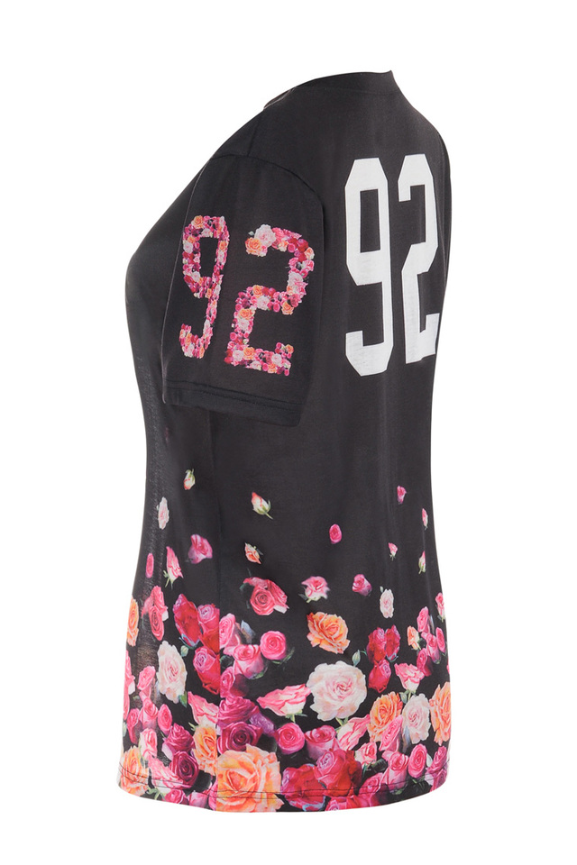 raya black and floral t shirt