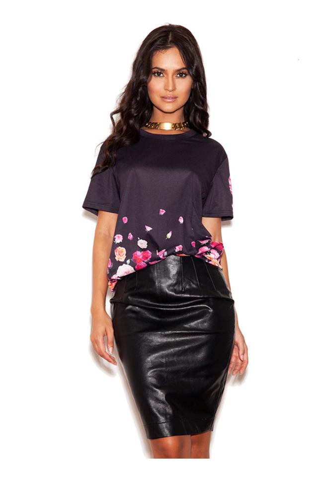 Raya Black and Floral Print Varsity T shirt