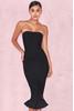 Fabrizia Black Bandage Strapless Fluted-Hem Dress