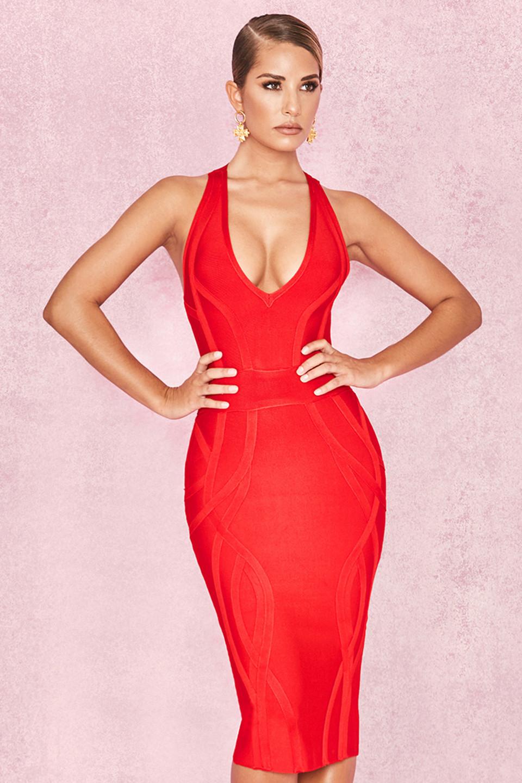 Cici Red Deep V Plunge Bandage Dress