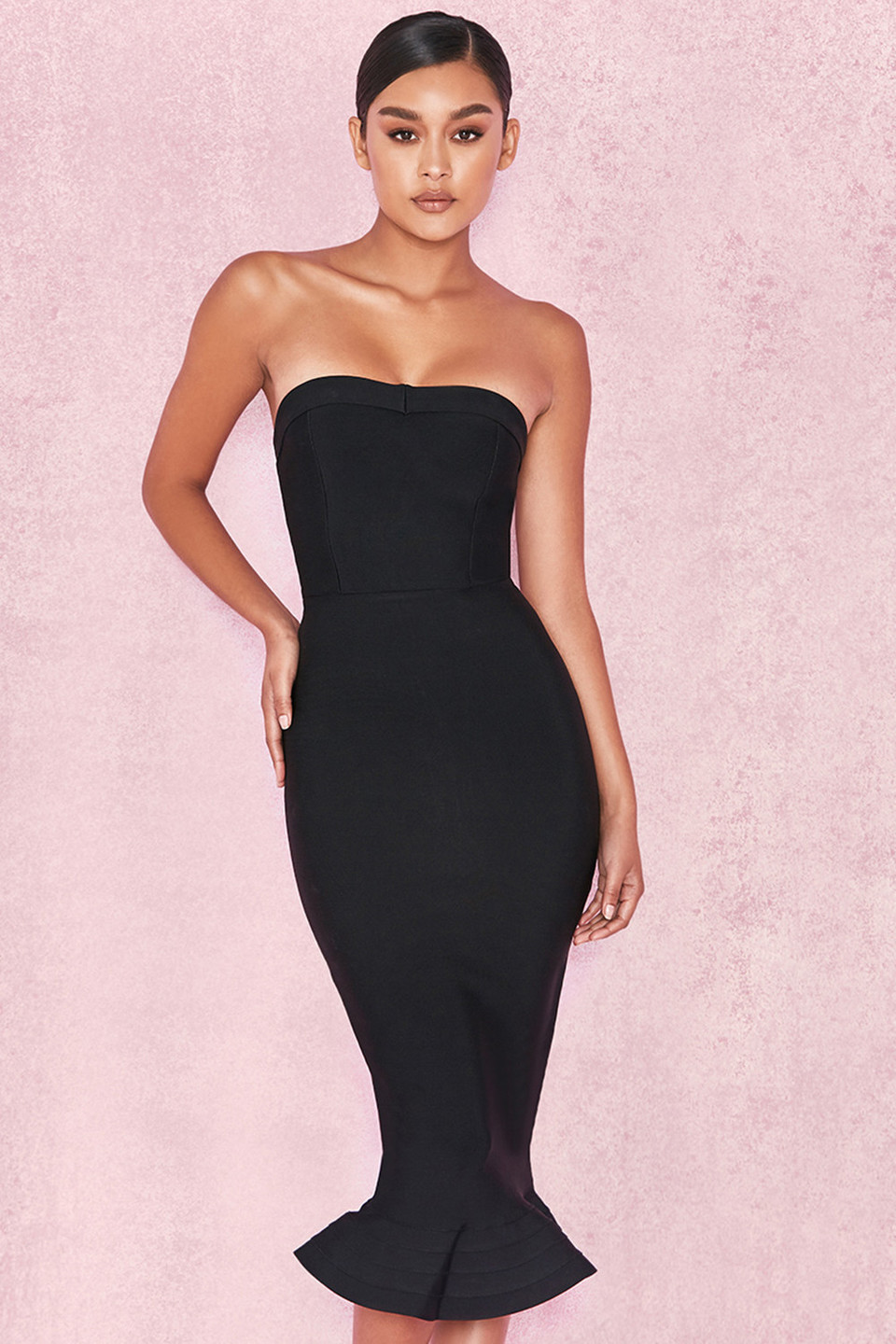 Fabrizia Black Bandage Strapless Fluted-Hem Dress