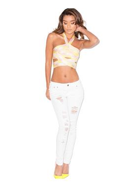 Siren White Destroyed Denim Jeans