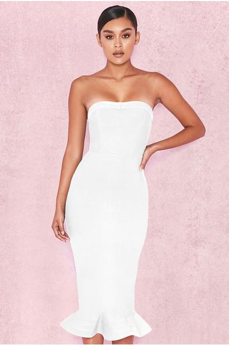 'Fabrizia' White Bandage Strapless Fluted-Hem Dress
