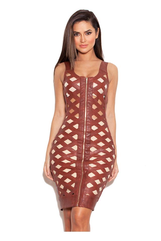 Alandrea Tan Leatherette Open Lattice Dress