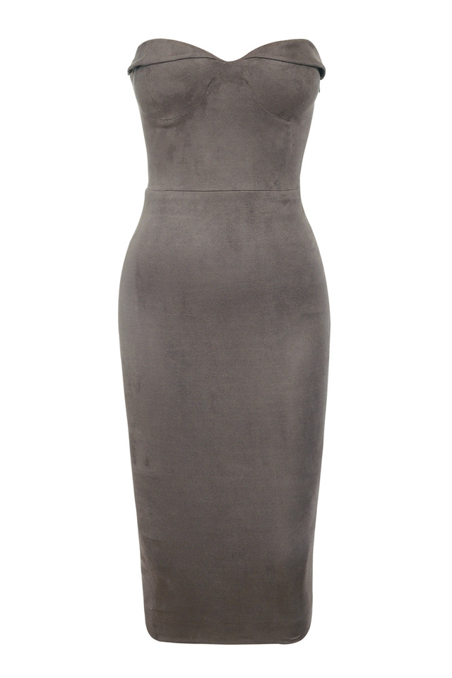 the pia bodycon dress in taupe