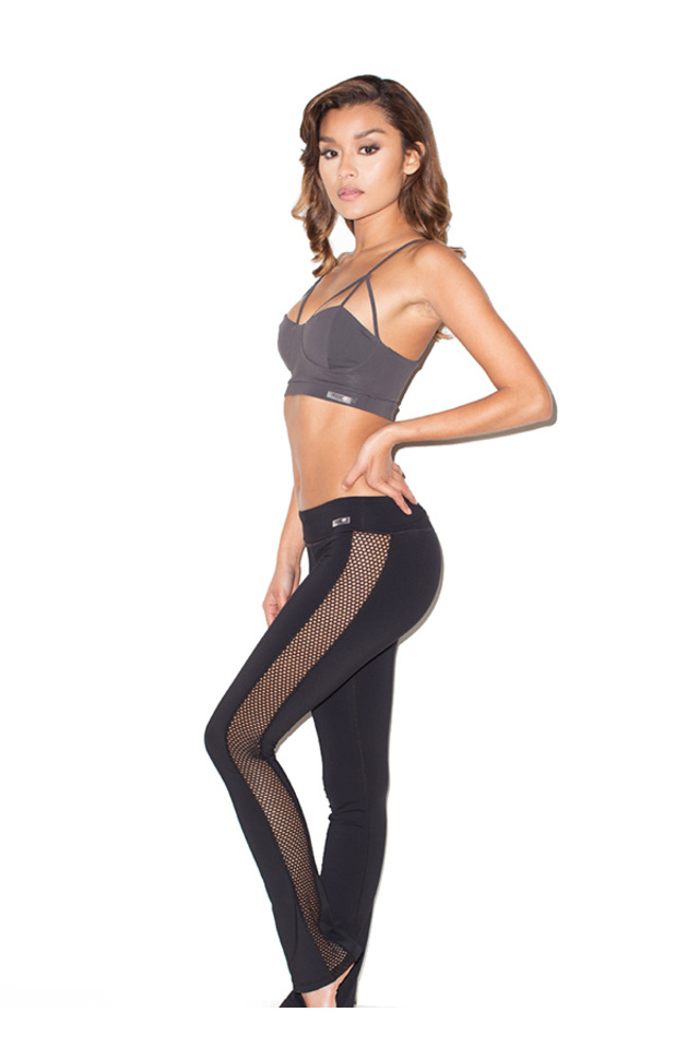 Devi Black Lycra and Mesh Long Workout Yoga Pant