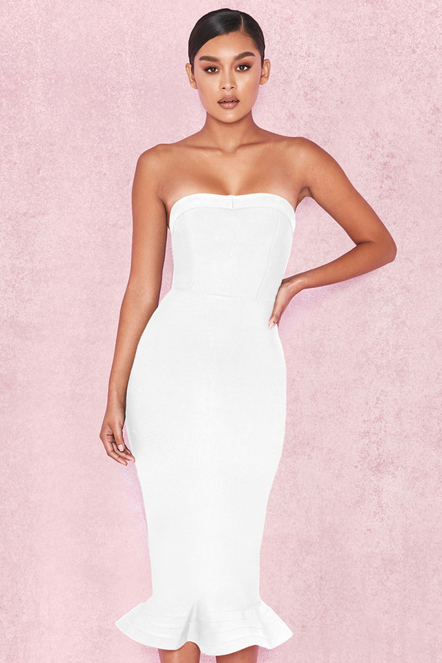 'Fabrizia' White Bandage Strapless Fluted-Hem Dress