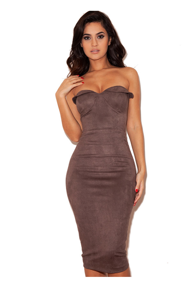 Pia Taupe Suedette Strapless Bodycon Dress