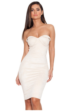 Pia Ecru Suedette Strapless Bodycon Dress