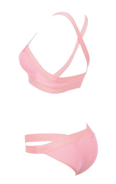 Bandage and Mesh pink bikini