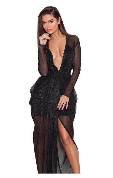 Blanca Black Shimmer Sheer Chiffon Maxi Dress