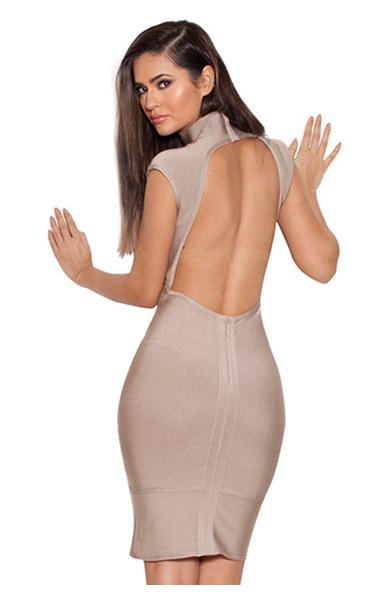Pascale Taupe Backless Bandage Dress