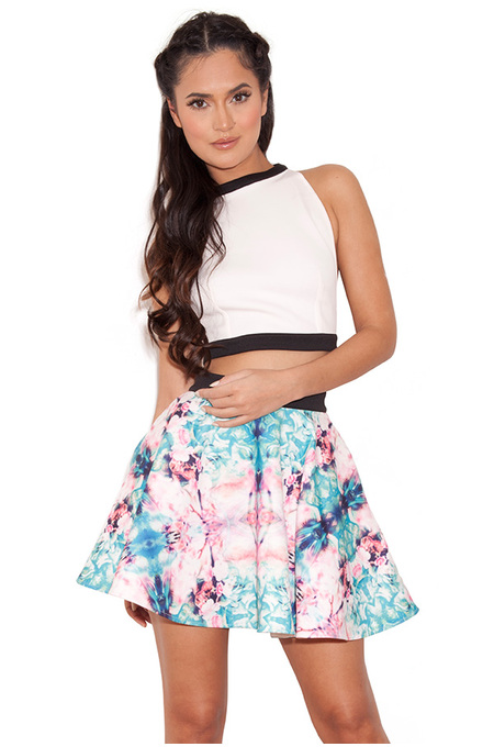 Aumisha Neoprene Printed Floral Skater Two Piece