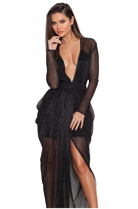 Blanca Black Shimmer Sheer Chiffon Maxi Dress