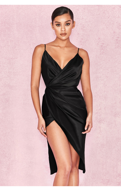 Coco Black Satin Drape Back Dress