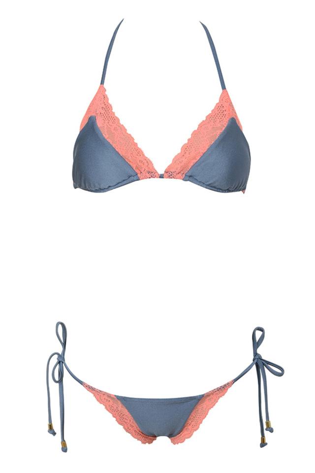 Salvador Coral and Grey Triangle Bikini
