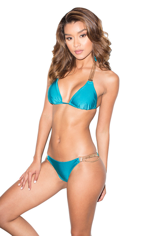 Bali Turquoise and Gold Triangle Bikini