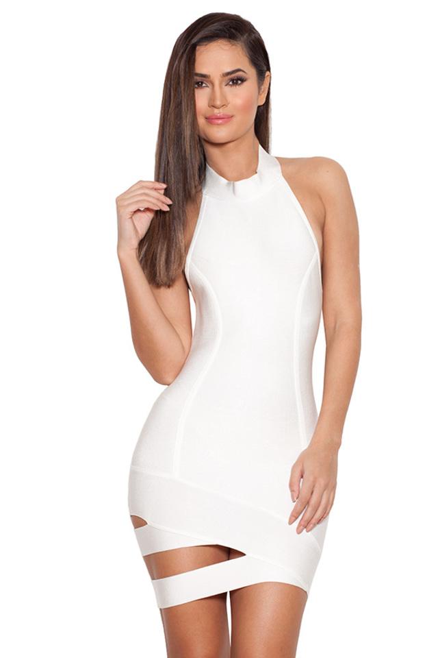 Livi White Cut Out Mini Bandage Dress