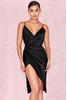 Coco Black Satin Drape Back Dress