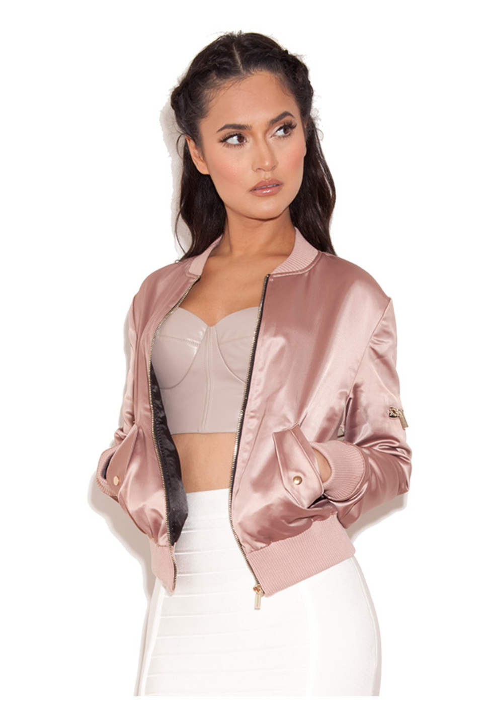 Dena Rose Gold Satin Bomber Jacket