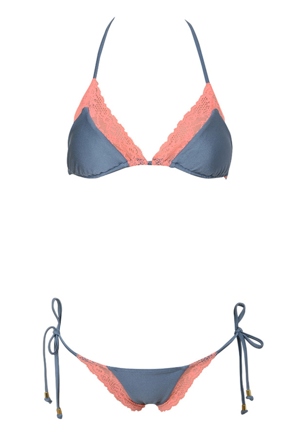 Salvador Coral and Grey Triangle Bikini