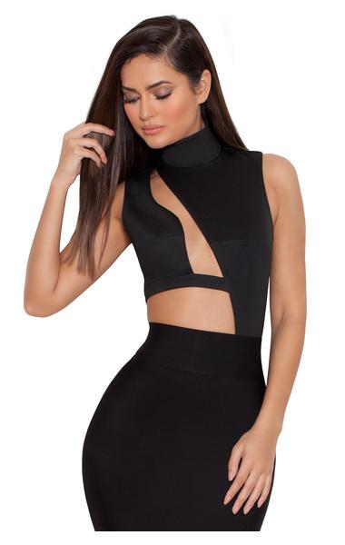 Malla Black Assymetric Cut Out Bodysuit