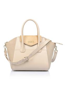 Perfection Cream and Nude Genuine Leather Handbag